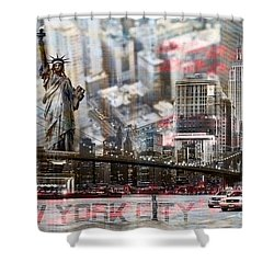 Shower Curtain featuring the photograph Manhatten From Above by Hannes Cmarits