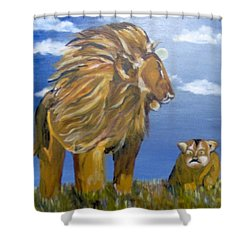 Shower Curtain featuring the painting Manhood Training by Saundra Johnson