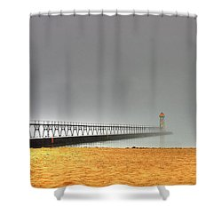 Manistee Light And Fog Shower Curtain by Randy Pollard