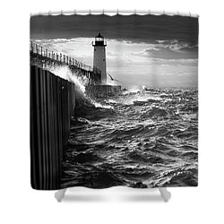 Shower Curtain featuring the photograph Manistee Pierhead Lighthouse by Fran Riley