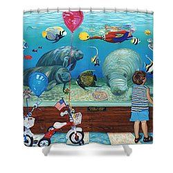 Manitee Aquarium With My Twins Shower Curtain
