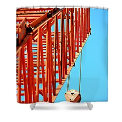 Manitowoc Red Boom Block And Hook Shower Curtain