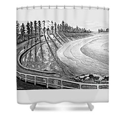 Manly Beach In Black And White Shower Curtain by Leanne Seymour