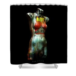 Shower Curtain featuring the painting Mannequin Graffiti by Kim Gauge
