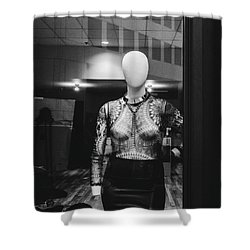 Mannequin In Window Shower Curtain by Dylan Murphy
