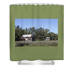 Manning Cotton Field With Barns Shower Curtain