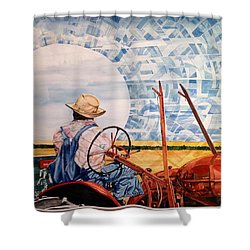 Manny During Wheat Harvest Shower Curtain by Lance Wurst
