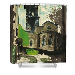 Shower Curtain featuring the painting Manosque  Provence Notre Dame De Romigier Print by Martin Stankewitz