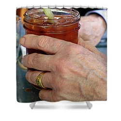 Mans Hand Holding Bloody Mary  Shower Curtain by Beth Wolff