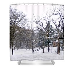 Mansion In The Snow Shower Curtain