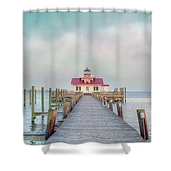 Manteo Lighthouse Shower Curtain by Marion Johnson