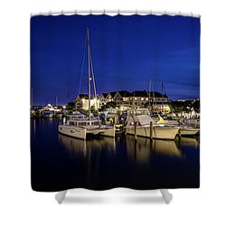 Manteo Waterfront Marina At Night Shower Curtain
