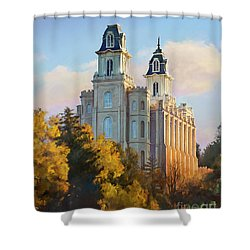 Manti Temple Tall Shower Curtain