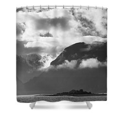 Many Moods Of Pyramid Island Shower Curtain by Michele Cornelius