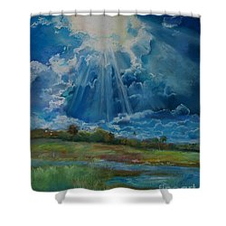 Shower Curtain featuring the pastel Many The Miles by Robin Maria Pedrero