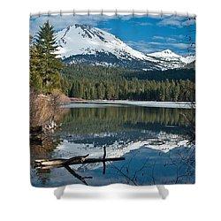 Manzanita Lake Reflects On Mount Lassen Shower Curtain