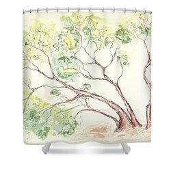 Shower Curtain featuring the painting Manzanita Tree by Maria Langgle