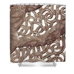 Maori Abstract Shower Curtain by Denise Bird