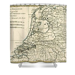 Map Of Holland Including The Seven United Provinces Of The Low Countries Shower Curtain by Guillaume Raynal