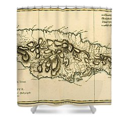 Map Of Jamaica Shower Curtain by Guillaume Raynal