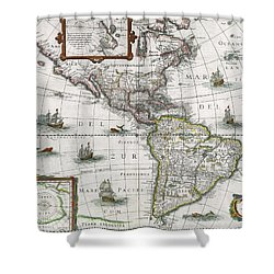 Map Of The Americas Shower Curtain by Henricus Hondius