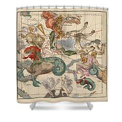 Map Of The Constellations Cetus, Pegasus, Aquarius, Andromeda - Celestial Map - Antique Map Shower Curtain