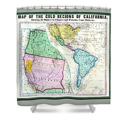 Map Of The Gold Regions Of California Shower Curtain