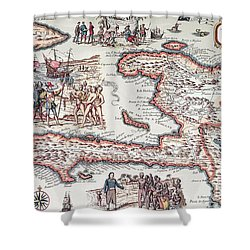 Map Of The Island Of Haiti Shower Curtain by French School