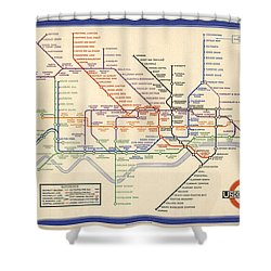 Map Of The London Underground - London Metro - 1933 - Historical Map Shower Curtain