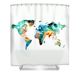 Map Of The World 11 -colorful Abstract Art Shower Curtain by Sharon Cummings