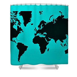 Shower Curtain featuring the photograph Map Of The World Turquoise by Rob Hans