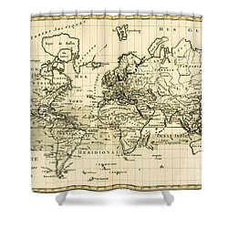 Map Of The World Using The Mercator Projection Shower Curtain by Guillaume Raynal
