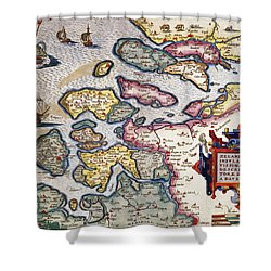 Map Of Zeeland Shower Curtain by Abraham Ortelius