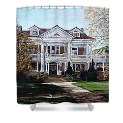 Shower Curtain featuring the painting Mapleton Hill Homestead by Tom Roderick