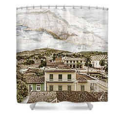 Mapping Trinidad Shower Curtain