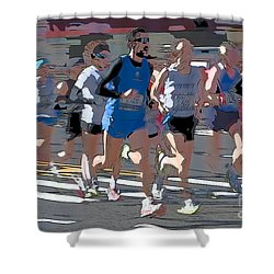 Marathon Runners I Shower Curtain by Clarence Holmes