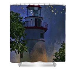 Marblehead In Starlight Shower Curtain by Joan Bertucci