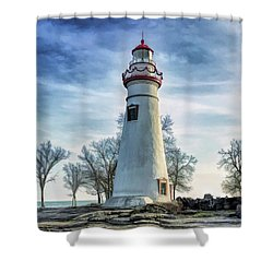 Shower Curtain featuring the painting Marblehead Lighthouse by Christopher Arndt