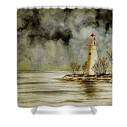 Marblehead Lighthouse In The Winter Shower Curtain by Michael Vigliotti