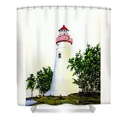 Marblehead Lighthouse Shower Curtain by Michael Vigliotti