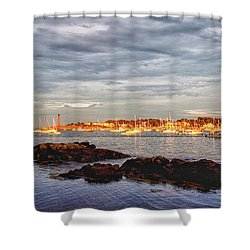 Shower Curtain featuring the photograph Marblehead Neck From Fort Beach by Jeff Folger