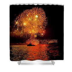Shower Curtain featuring the photograph Marblehead Fireworks by Jeff Folger