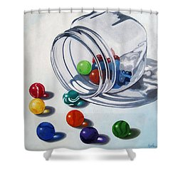 Marbles And Glass Jar Still Life Painting Shower Curtain