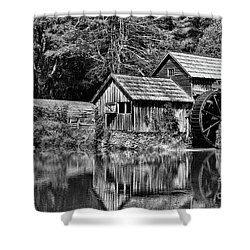 Marby Mill In Black And White Shower Curtain by Paul Ward