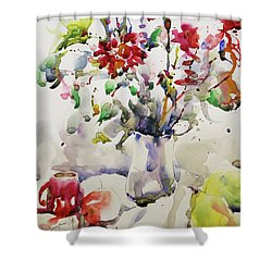March Greeting Shower Curtain by Becky Kim