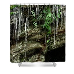 Shower Curtain featuring the photograph March Icicles 2 by Mike Eingle