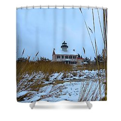 March Snow At East Point Lighthouse Shower Curtain
