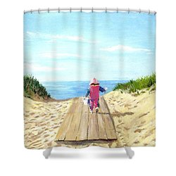 March To The Beach Shower Curtain by Jack Skinner