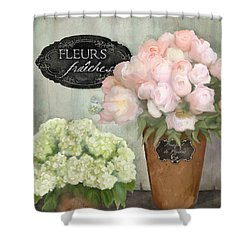 Shower Curtain featuring the painting Marche Aux Fleurs 2 - Peonies N Hydrangeas by Audrey Jeanne Roberts