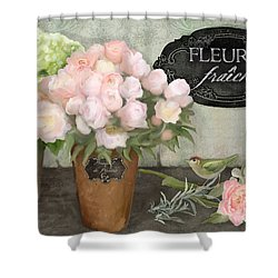 Shower Curtain featuring the painting Marche Aux Fleurs 2 - Peonies N Hydrangeas W Bird by Audrey Jeanne Roberts